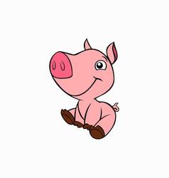 Cute little pig animal vector
