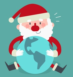 Cute Santa Sitting and Holding the World vector