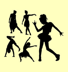 Dancing pose man and women silhouette vector