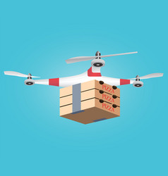 Delivery drone with the boxes of hot pizza vector