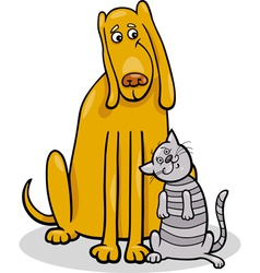 dog and cat in friendship cartoon vector image