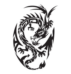 dragon tattoo vintage engraving vector image