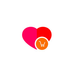 Ecommerce cart in a heart logo vector