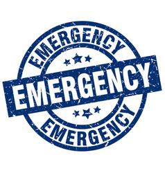 Emergency blue round grunge stamp vector