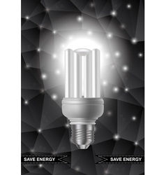 Energy saving bulb with triangle background vector image