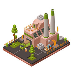 Factory plant isometric 3d of vector