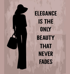 fashion woman with quote about elegance vector image vector image