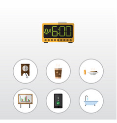 Flat icon oneday set of cappuccino clock vector