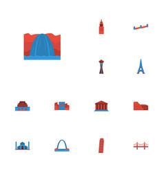 Flat icons india mosque bridge the forbidden vector