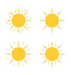 four yellow sun icons in flat design vector image
