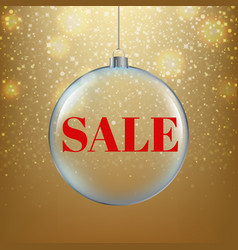 ghristmas sale poster with golden background vector image