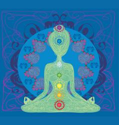 Girl sits and meditatesabstract card vector