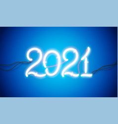 glowing neon sign 2021 with wires tubes and vector image