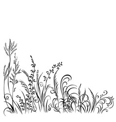 Grass and flowers black silhouette isolated on vector