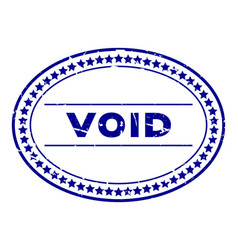 grunge blue void word oval rubber seal stamp on vector image