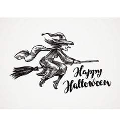 Halloween Old wicked witch flying on broomstick vector image