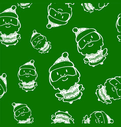 hand drawn seamless pattern with santa claus vector image