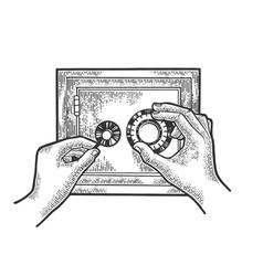 hands hack safe sketch vector image