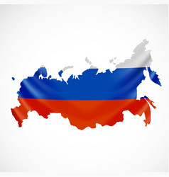 Hanging russia flag in form map russian vector