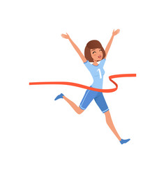 happy woman crossing red finish tape young vector image