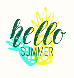 Hello summer modern hand drawn lettering phrase vector