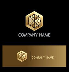 ice flower geometry gold logo vector image