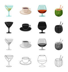 isolated object of drink and bar sign collection vector image