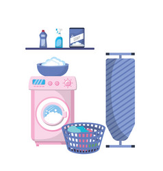 laundry with electrical equipment and domestic job vector image