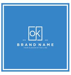 Letter ok square logo design concept vector