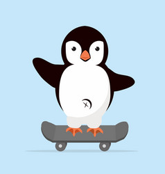 little penguin on skateboarder vector image