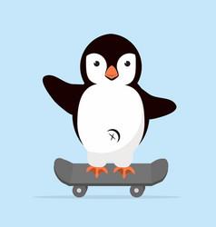 little penguin on skateboarder vector image