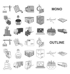 Logistics and delivery monochrom icons in set vector