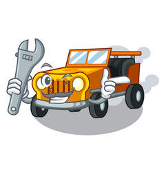 Mechanic jeep cartoon car in front clemency vector