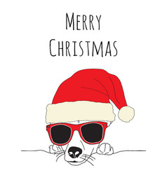 merry christmas and dog wearing santa hat and vector image