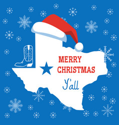 merry christmas texas card american vector image