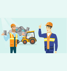 Multiracial workers and bulldozer at rubbish dump vector