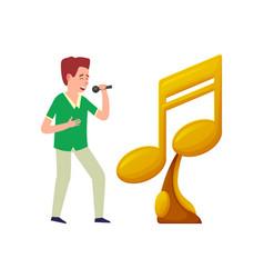 music notes golden trophy award singer microphone vector image