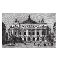 opera house in paris france vintage engraving vector image