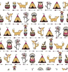 Pattern with american indian animals vector