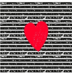 Pink heart on seamless striped pattern vector image