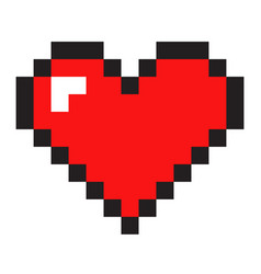 Pixel art heart isolated on white background vector