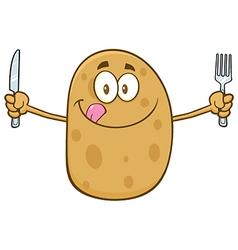 Potato Cartoon Holding Cutlery vector image