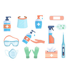 Ppe icons hand sanitizer bottles antiseptic vector