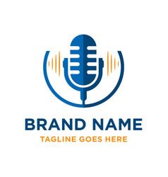 Radio microphone logo design vector