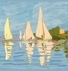 sailboats in claude monet style vector image