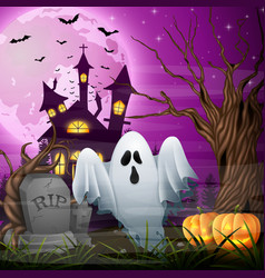 scary church background with ghost and pumpkins vector image