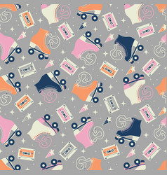 seamless pattern with roller skates and cassettes vector image
