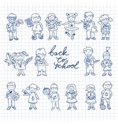 set carton doodle kids vector image