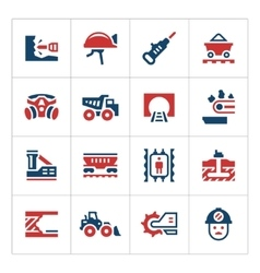 Set color icons of mining vector