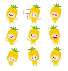 set cute pineapple cartoon characters vector image